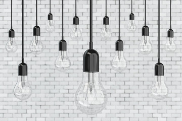 Ideas Concept. Many Light Bulbs. 3d Rendering