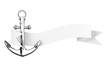 Nautical Anchor with Ribbon Banner. 3d Rendering
