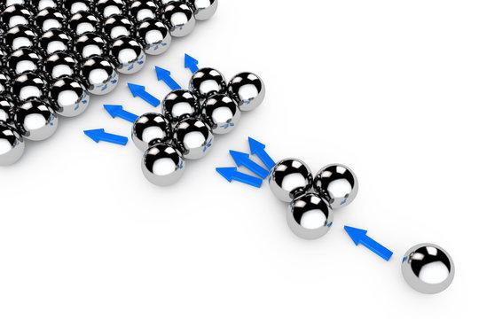 Social Marketing Concept. Chrome spheres with Arrows. 3d Renderi