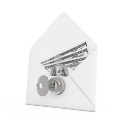Security Concept. Money in Envelope with Key and Keylock. 3d Ren