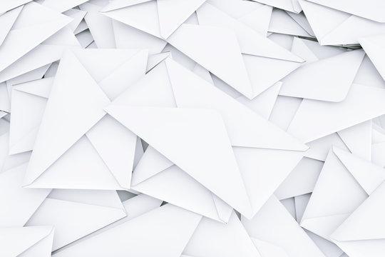 White Blank Envelope Letters Heap. 3d Rendering