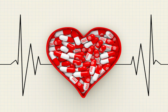 Red Heart Box with Pills on a Cardiogram Background. 3d Renderin