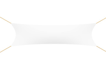 White Blank Banner with Ropes. 3d Rendering