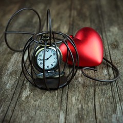 Heart and classic clock.