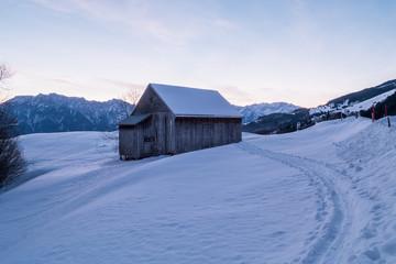 Swiss Winter - Hut under snow