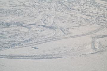 Swiss Winter - Ski tracks in snow