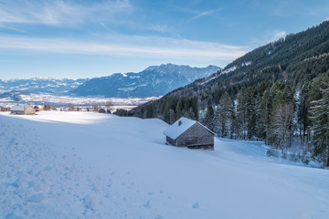 Swiss Winter - Barn covered in snow
