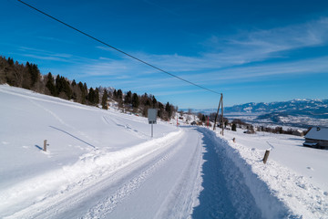 Swiss Winter - Road covered in snow