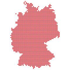 Карта Германии. Силуэт Германии выполненный из маленьких красных сердец. Оригинальная абстрактная векторная иллюстрация для вашего дизайна.