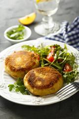 Potato cakes with fresh salad