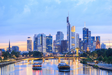 view of Frankfurt am Main skyline at dusk
