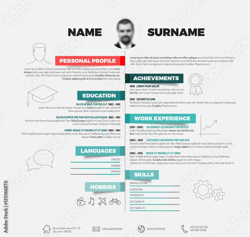 Vector minimalist cv / resume template\