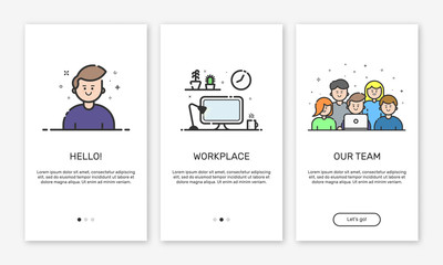 Vector Illustration of onboarding app screens and web concept design team for mobile apps in flat line style.