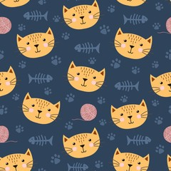 Cute seamless pattern with funny cat