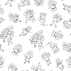 . Hand drawn cupid seamless pattern in doodle style