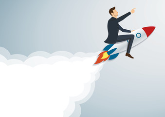 Businessman Flying with a Rocket to Successful background vector. Business concept illustration.