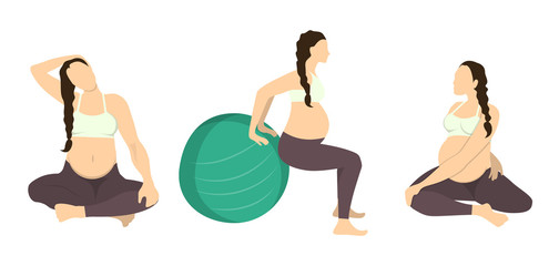 Workout for pregnant set. Yoga training. Healthcare for young mothers. Stretching for health. Exercise with fit ball. Neck stretching.