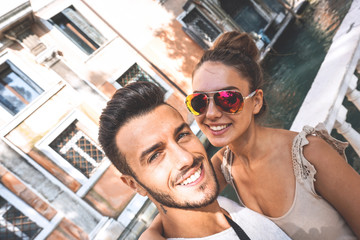 Selfie of gorgeous couple in holiday