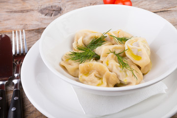 Steamed dumpling with herbs