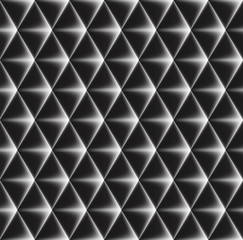 Vector seamless pattern of concave triangles with glowing edges.