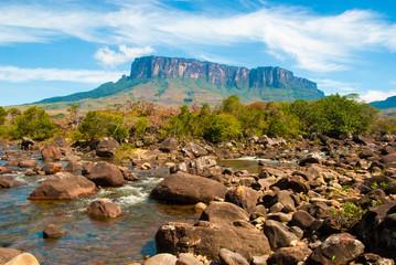 View of Kukenan Tepui from Kukenan River, Gran Sabana, Venezuela