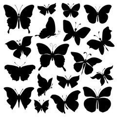 Black silhouettes butterflies