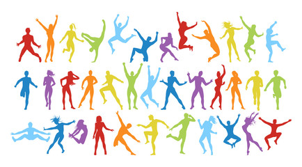 Isolated colorful dancers set on white background. Dance pose. Healthy lifestyle and getting energy.