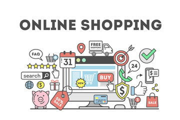 Online shopping concept with many colorful icons as target, price tag, piggy bank and more. Idea of discount, sale and e-commerce. White background.