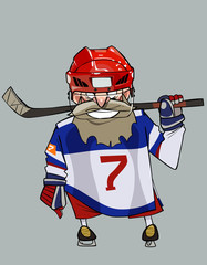 cartoon comical bearded hockey player with hockey stick