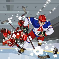 funny cartoon hockey players play hockey on the ice