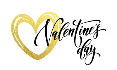Love Valentine heart gold glitter text card
