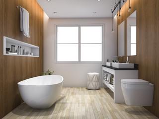 3d rendering luxury wood style bathroom and toilet