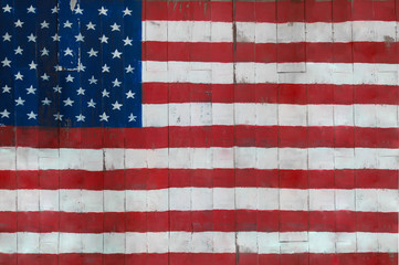 flag of the United States of America. Old vintage wood texture.