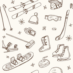 Winter Fun Sports, Activities and Accessories Hand-Drawn Notebook Doodles seamless pattern with Sled, Skis, Skates, Snowboard, Snowflake