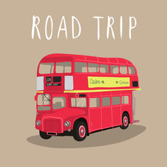 London red bus isolated vector. Retro car