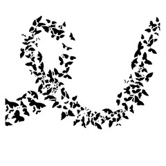 Black rose petals with breast cancer symbol, vector illustration