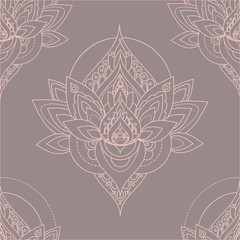 Seamless vector vintage pattern with abstract lotus illustrations.