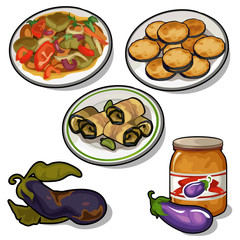 Special set eggplant in variety of dishes. Vector