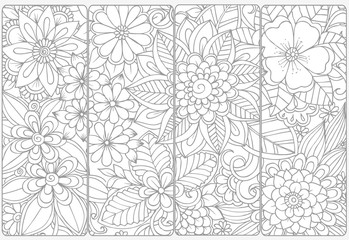 Floral doodles for adult coloring book.Vector set of monochrome