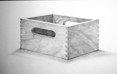 Realistic sketch of an empty wooden box. Pencil hand drawing. Contemporary illustration