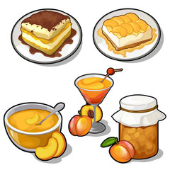 Set of tasty dishes made from apricot