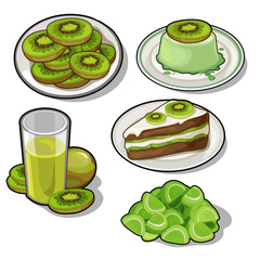Set of tasty dishes made with tropical kiwi