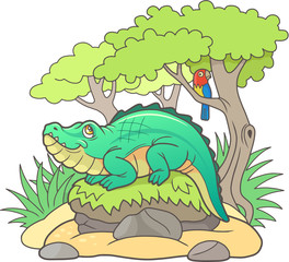 funny cartoon crocodile basking in the sun