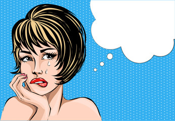 Pop art comics style crying woman portrait with speech bubble, vector