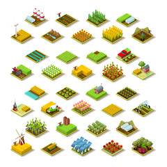 Isometric farm house building staff farming agriculture scene 3D icon set collection farmland vector illustration