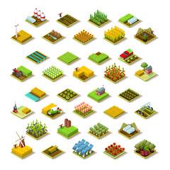 Isometric farm house building staff farming agriculture scene 3D icon set collection farmland vector illustration
