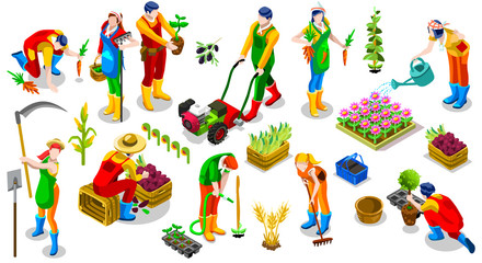 Isometric isolated farmer man farming people 3D icon set collection vector illustration. Farm field farmland life scene seed plant gardening tool