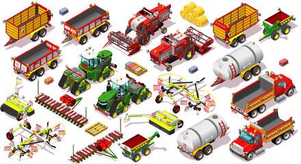 Isometric Farm isolated Vehicle 3D Icon Set Collection Farmland Vector Illustration