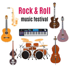 Vector set of rock and roll music instruments, flat design
