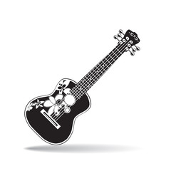 Vector illustration of black and white hawaiian ukulele guitar in flat design